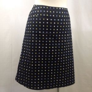 Rafaella Petite Black Multi-color Polka Dot Skirt